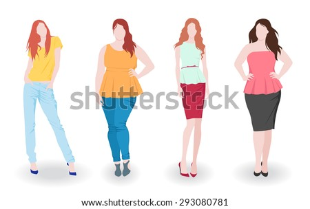 Vector illustration of isolated slim and fat fashion women - stock vector