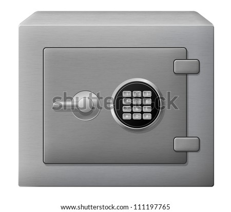 Vector illustration of isolated steel safe box - stock vector