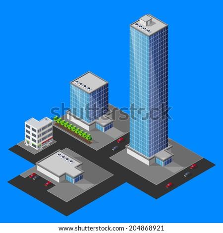 vector illustration of isometric cityscape - stock vector