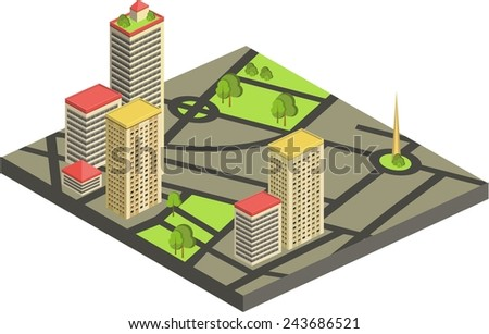 vector illustration of isometric cityscape. custom and edit map