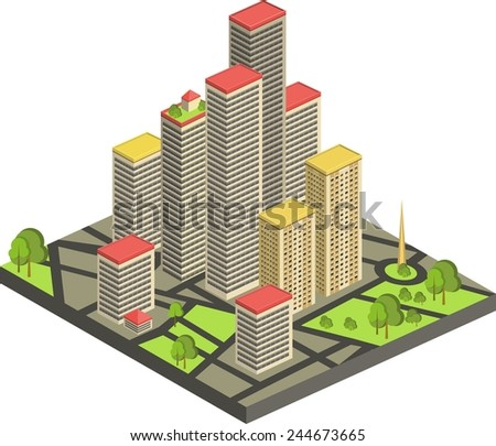 vector illustration of isometric cityscape. custom and edit map - stock vector