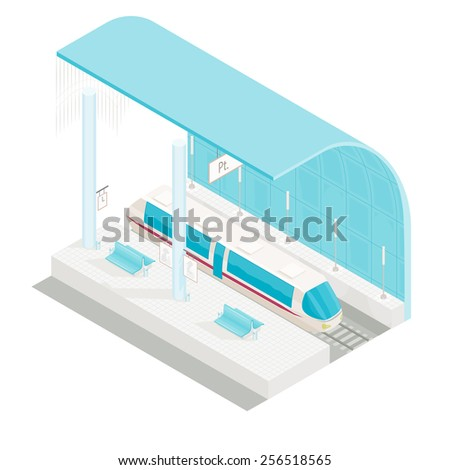 vector illustration of isometric railway station with train  - stock vector