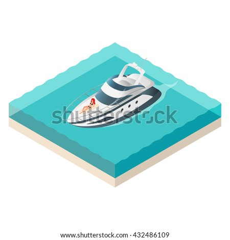 Vector illustration of isometric yacht and beautiful woman resting on it. Summer vacation. - stock vector