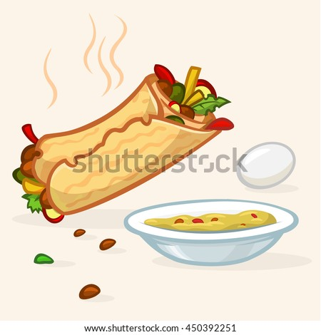 Vector illustration of Israel street falafel roll, plate with hummus and egg. Street food icons  - stock vector