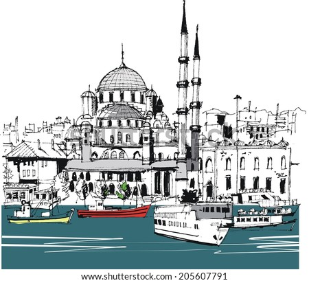 Vector illustration of Istanbul waterfront, with buildings and boats - stock vector