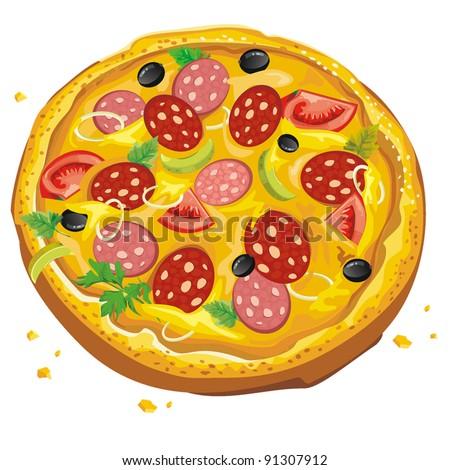 Vector illustration of Italian pizza. Abstract Elegance food. - stock vector