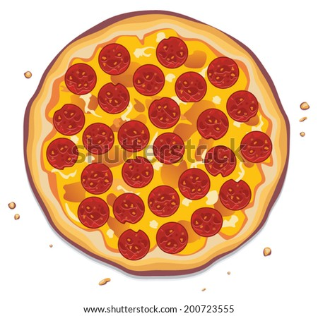 vector illustration of italian pizza with pepperoni slices - stock vector