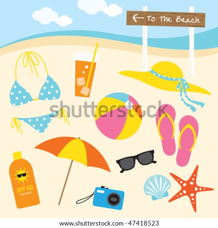 Vector illustration of items related to the beach activities. - stock vector