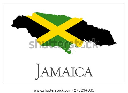 Vector illustration of Jamaica flag map. Used transparency.