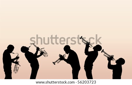Vector illustration of jazz brass musician - stock vector