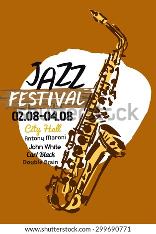 Vector illustration of Jazz poster background template with hand drawn saxophone. Modern graphic design for festival, concert and club performance placard. Creative image in beige and black colours. - stock vector