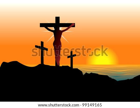 Vector Illustration of Jesus Christ on cross. Easter Resurrection. - stock vector