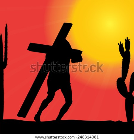 Vector illustration of Jesus with the cross. - stock vector