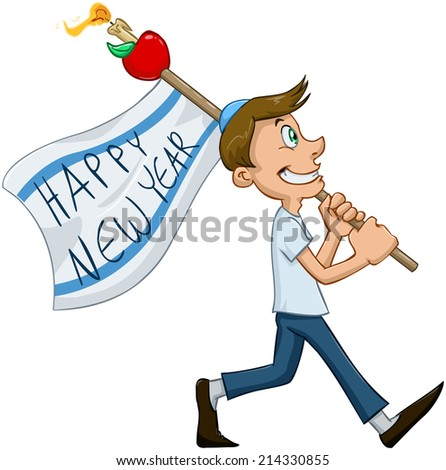 Vector illustration of jewish guy holds happy new year flag for rosh hashana  - stock vector