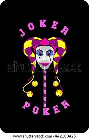 vector illustration of joker mask on a black background playing card - stock vector