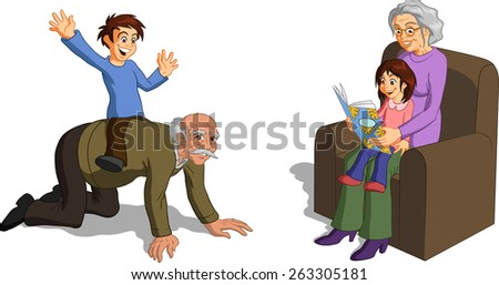 Vector illustration of joyful grandparents spending time with their grandchildren. - stock vector