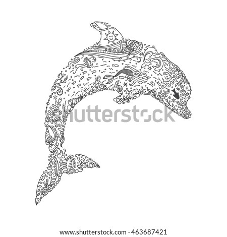 Vector Illustration Of Jumping Dolphin In Very Detailed Doodle Style Coloring Book Page Sea