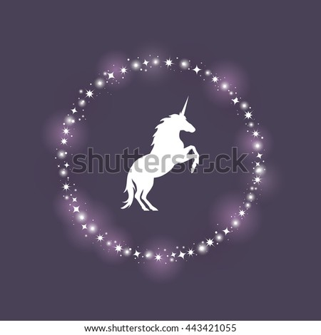 Vector illustration of jumping unicorn on dark blue background. Elements for design.