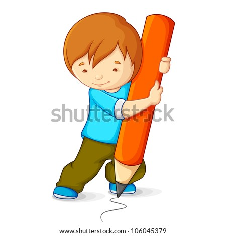 vector illustration of kid drawing with pencil - stock vector