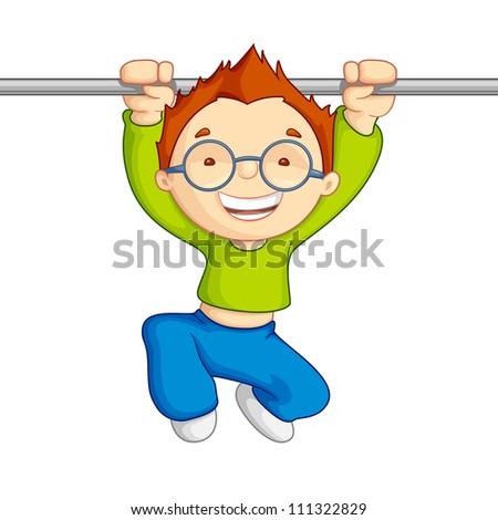 vector illustration of kid hanging against white background - stock vector