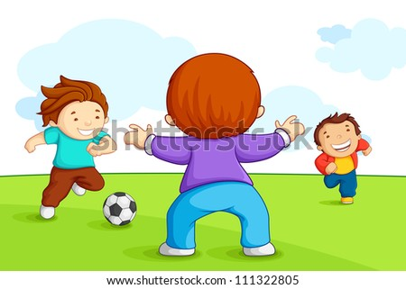 vector illustration of kid playing soccer in playground - stock vector