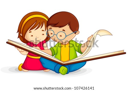 vector illustration of kid reading open book sitting on floor - stock vector
