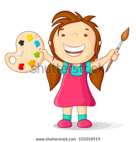 vector illustration of kid with color pallet and paint brush - stock vector