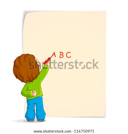 vector illustration of kid writing with marker on paper - stock vector