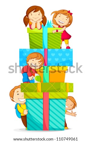 vector illustration of kids climbing pile of gift boxes - stock vector