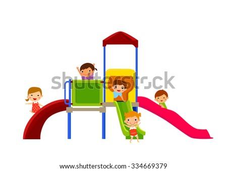 vector illustration of kids enjoying on slide - stock vector