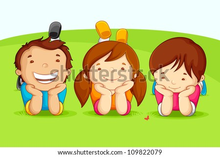 vector illustration of kids laying on field - stock vector