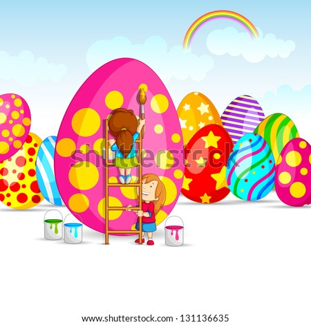 vector illustration of kids painting colorful Easter egg - stock vector