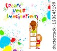 vector illustration of kids painting competition poster - stock photo