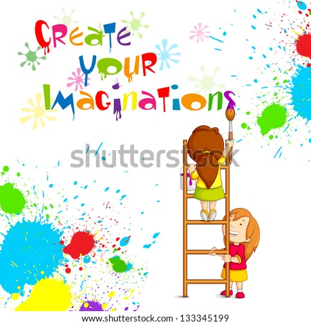 vector illustration of kids painting competition poster - stock vector