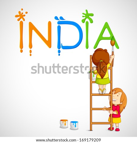 vector illustration of kids painting tricolor India - stock vector