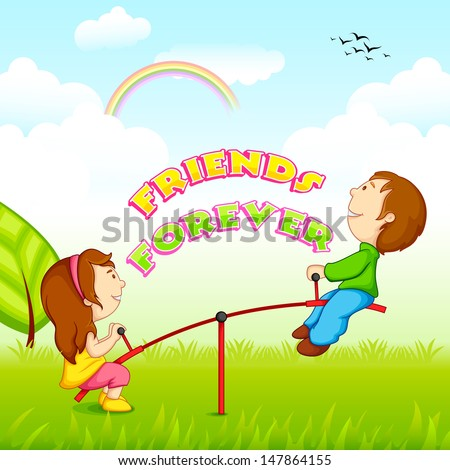 vector illustration of kids riding on seesaw on Friendship Day - stock vector