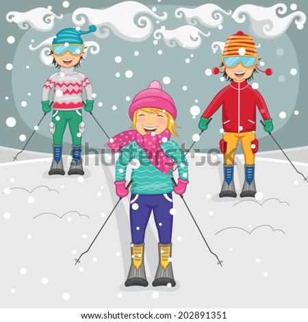 Vector Illustration Of Kids Skiing  - stock vector