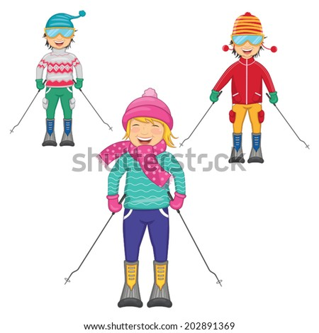 Vector Illustration Of Kids Skiing On Isolated Background - stock vector