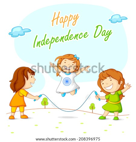 vector illustration of kids skipping and celebrating Indian Independence - stock vector