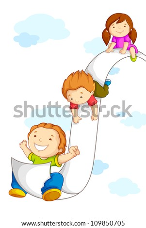 vector illustration of kids sliding on paper in sky - stock vector
