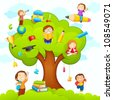 vector illustration of kids studying on tree with different education object - stock photo