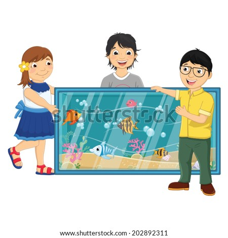 Vector Illustration Of Kids Watching Fishes in an Aquarium - stock vector