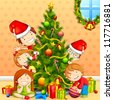 vector illustration of kids with peeping behind Christmas tree - stock photo