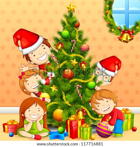 vector illustration of kids with peeping behind Christmas tree - stock vector