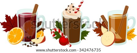 Vector illustration of 3 kinds of hot seasonal holiday beverages. - stock vector