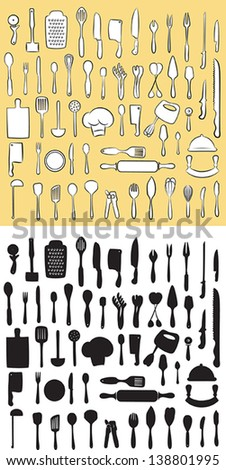 vector illustration of  kitchen utensil collection in line art and silhouette mode - stock vector