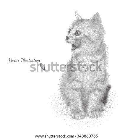 Vector illustration of kitten licks lips in black and white graphic style pointillism over white - stock vector