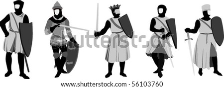 Vector Illustration of 5 Knights - stock vector