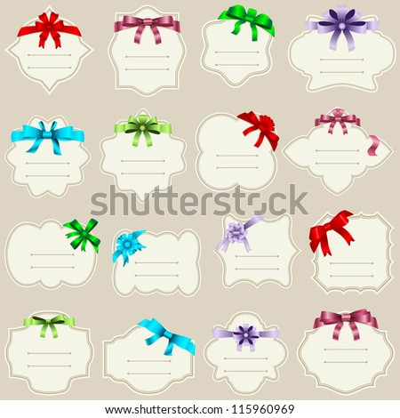 vector illustration of labels with colourful ribbons - stock vector