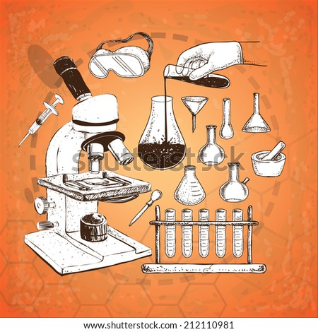 Vector illustration of laboratory equipment doodle on grunge orange background - stock vector